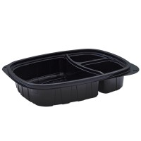 Tutipac 3-Comp Black Hot Multipurpose Containers PP | 250pcs