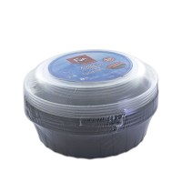Fun® Multipurpose Black Round Container 48oz + Lid | 5pcsx25pkts