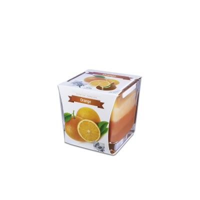 Fun® Scented Candles in Square Glass  8x8x8cm - Orange | 1pcx6pkts