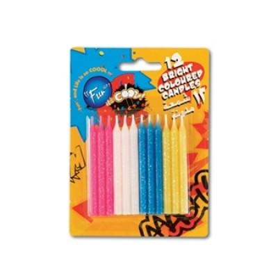 Fun® Birthday Candles - Standard + Holders | 12pcsx12pkts