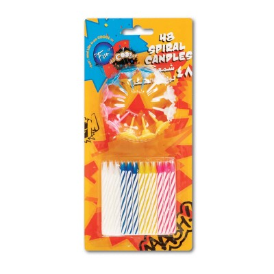 Fun® Birthday Candles - Spiral + Holders | 48pcsx24pkts