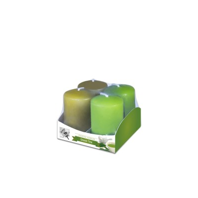 Fun® Scented Mini Pillar Candles 4x6cm - Green Tea | 4pcsx12pkts