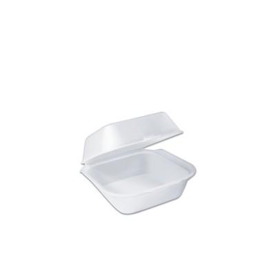 Foam Burger Box w/ Hinge Lid 127x127x68mm - White   500pcs