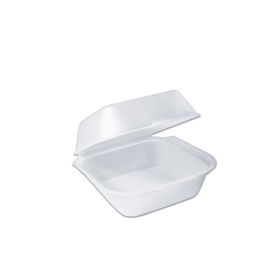 Foam Burger Box w/ Hinge Lid 152x140x76mm - White | 500pcs