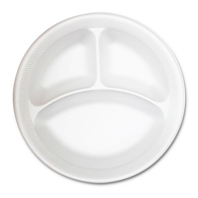 3-Comp. Foam Plate ⌀10.25in - White | 500pcs