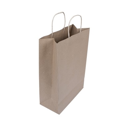 Brown Carry Bag w/ Twisted Handle 36x26+12cm Plain 100gsm- Small | 250pcs