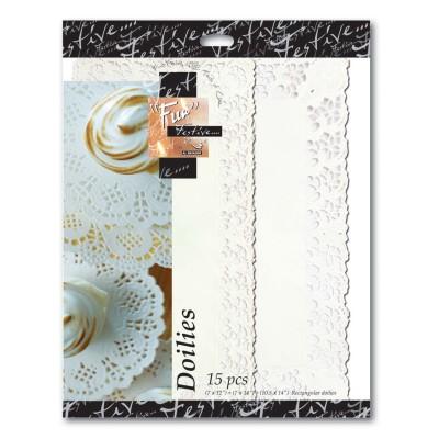 Fun® Rectangular Doilies (3 Sizes) - White | (3x5pcs)x24pkts