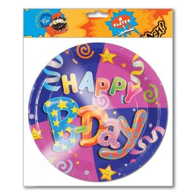 Fun® Paper Plate ⌀7in - Happy Birthday   6pcsx24pkts