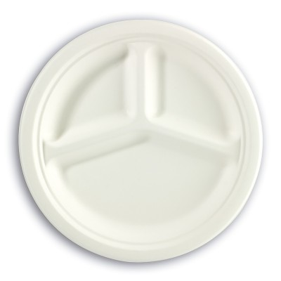 3-Comp. Biodegradable Moulded-Fibre Plate ⌀10in | 50pcsx20pkts