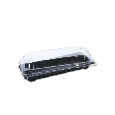 Tuttiblac Black Rectangular Container 75x200x40mm +Lid | 500pcs