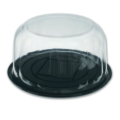 Pastripac ⌀255x110mm Black Base+Clear Dome Lid   100pcs