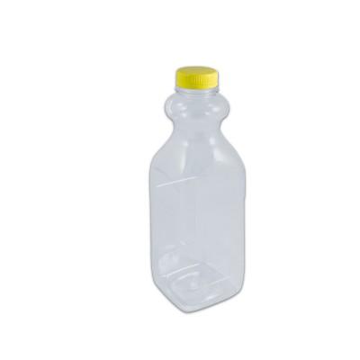 Clear Juice Bottle 1000ml w/ Lid - Square/PET (White Cap)   120pcs