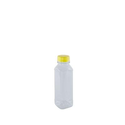Clear Juice Bottle 330ml w/ Lid - Square/PET | 160pcs