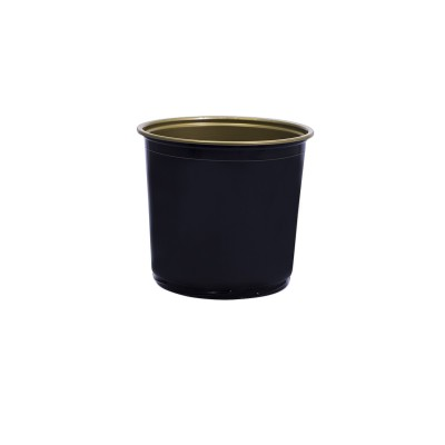 Towerpac Round Cont. w/ Screw Base 750cc - Black/Gold - PP | 100pcsx5pkts