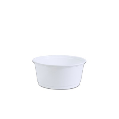 Towerpac Round Container w/ Flat Base 400cc - White PP | 100pcsx10pkts