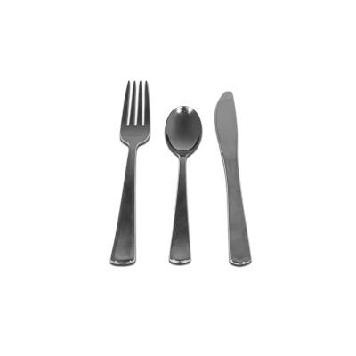 Premium Cutlery Set (Spoon+Fork+Knife) - Silver | 18pcsx10pkts