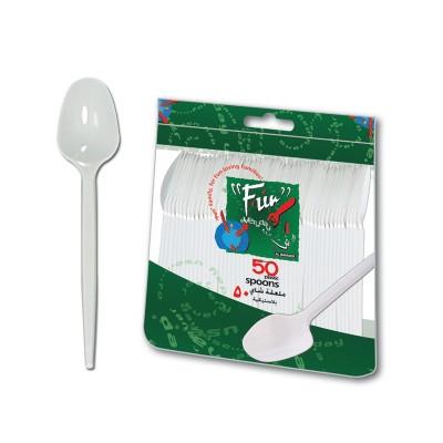 Fun® Plastic Spoon 6.5in - White | 50pcsx40pkts