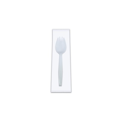 Plastic Small Wrapped Spork 3.4in - White PS | 250pcsx4pkts