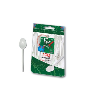 Fun® Plastic Teaspoon 5in - White | 100pcsx40pkts