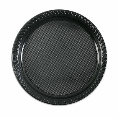 Plastic Plate ⌀25cm - Black | 10pcsx25pkts