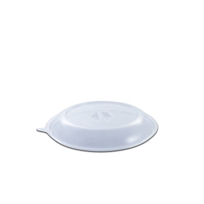 Roundpac Dome Lid w/ Spork Slot for Round Plate ⌀18cm - PET/Clear Deluxe | 25pcsx10pkts