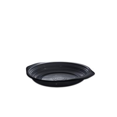 Roundpac Round Plate ⌀18cm w/ Handle- PP/Black Deluxe   25pcsx10pkts