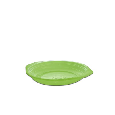 Roundpac Round Plate ⌀18cm w/ Handle- PP/Green Deluxe | 25pcsx10pkts