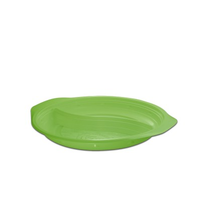 Roundpac Round 2-Comp. Plate ⌀22cm w/ Handle- PP/Green Deluxe | 25pcsx10pkts