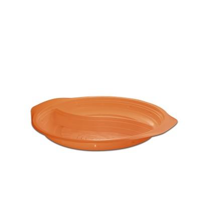 Roundpac Round 2-Comp. Plate ⌀22cm w/ Handle- PP/Organge Deluxe | 25pcsx10pkts