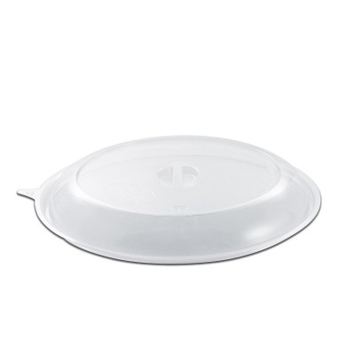 Roundpac Dome Lid w/ Spork Slot for Round Plate ⌀26cm - PP/Clear Deluxe | 25pcsx10pkts