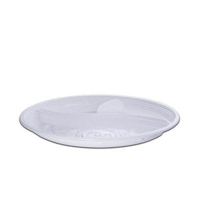 Roundpac Round 3-Comp. Plate ⌀26cm - PP/White Deluxe | 25pcsx10pkts