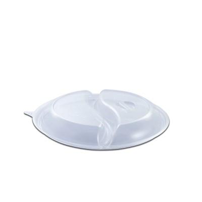 Roundpac Dome Lid 2-Comp. w/ Spork Slot for Round Plate/Cont. ⌀22cm - PET/Clear Deluxe | 25pcsx10pkts