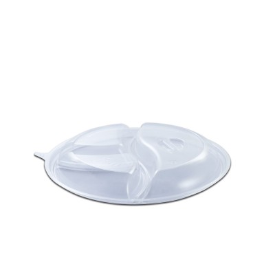 Roundpac Dome Lid 3-Comp. w/ Spork Slot for Round Plate/Cont. ⌀22cm - PET/Clear Deluxe | 25pcsx10pkts