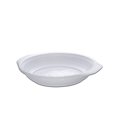 Roundpac Round Deep Plate ⌀22cm w/ Handle- PP/White Deluxe | 25pcsx10pkts