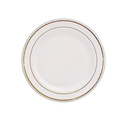 Round Plate ⌀26cm - PS/White w/ Golden Ring | 20pcsx10pkts