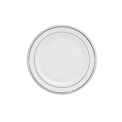 Round Plate ⌀15cm - PS/White w/ Silver Ring | 20pcsx10pkts