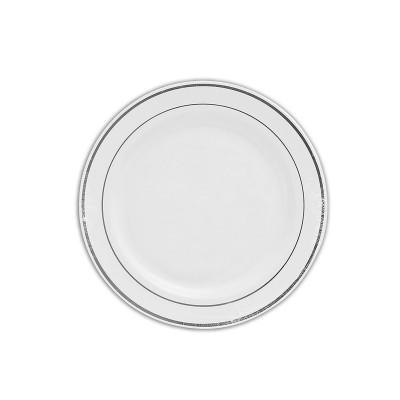 Round Plate ⌀23cm - PS/White w/ Silver Ring | 20pcsx10pkts