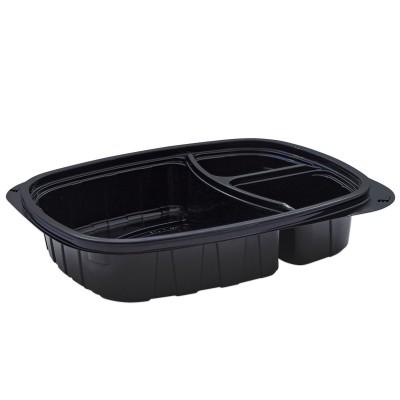 Tutipac 3-Comp Black Hot Multipurpose Containers PP | 250pcs