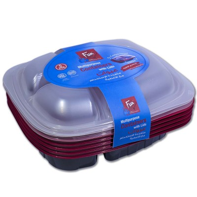 Fun® Tutipac 3-Comp Black and Red Hot Multipurpose Cont.+Lid PP | 5pcs*10pkts