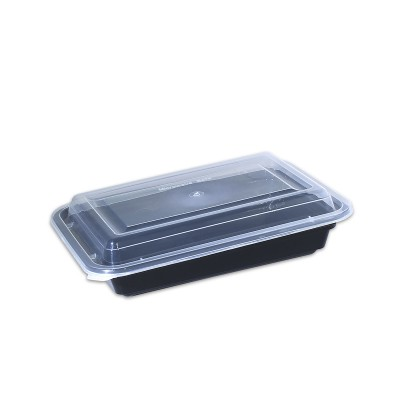 Black Rect. Microwavable Container 24oz - w/Lid | 150pcs