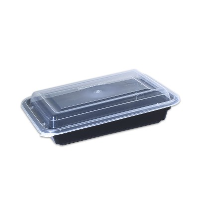 Black Rect. Microwavable Container 32oz - w/Lid  | 150pcs