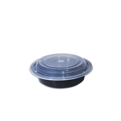 Black Round Microwavable Container 16oz - w/Lid  | 150pcs