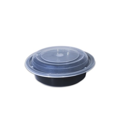 Black Round Microwavable Container 24oz - w/Lid | 150pcs