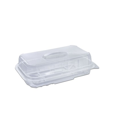 Pastripac Rectangular Clear Pastry Box w/ Handle 180x90x50mm PET | 350pcs
