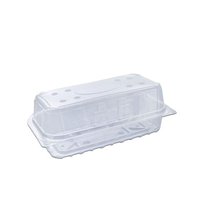Clear Ventilated Rectangular Box Flat Bottom w/ Hinged Lid 180x90x70 | 340pcs