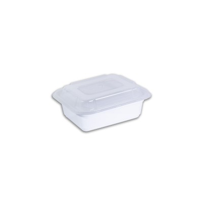 White Rect. Microwavable Container 12oz - w/ Lid | 150pcs