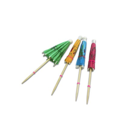 Parasol wood Picks 10cm - Assorted Colours | 144pcsx5pkts