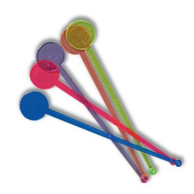 Disc Plastic Stirrers 185mm - Assorted Colours   200pcsx2pkts