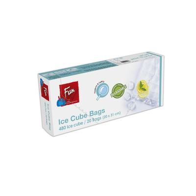 Fun® Biodegradable Ice Cube Bags 20x31cm - 24cubes | 20pcsx24pkts