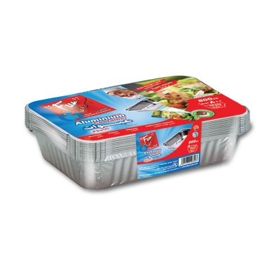 Fun® Aluminium Container w/ Lid 800cc | 10pcsx100pkts
